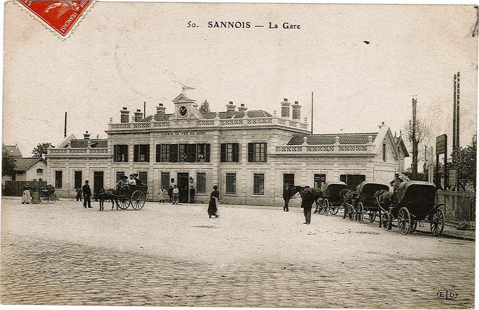 14 la gare vue de la place sannois carte postale ancienne cpa. Black Bedroom Furniture Sets. Home Design Ideas