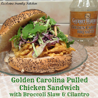 Golden Carolina Pulled Chicken Sandwich with Broccoli Slaw & Cilantro