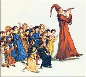 El flautista se lleva a los niños.