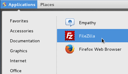 Open Filezilla for CentOS
