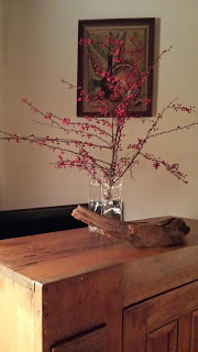Barberry branches in vase