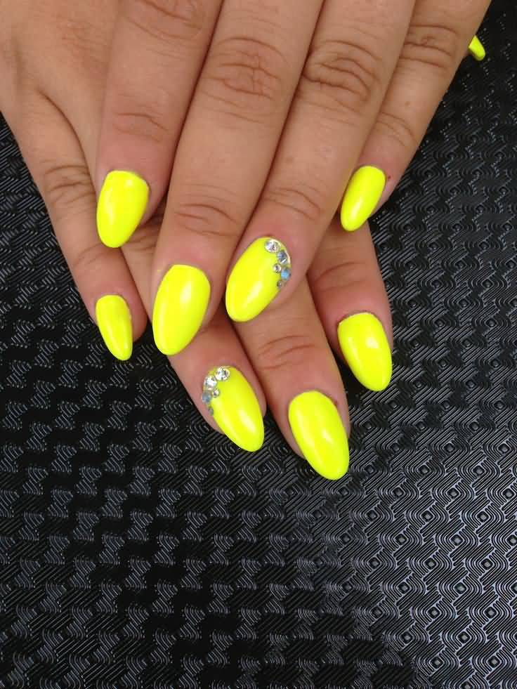 Yellow Nail Art Glossy Nails With Black Polka Dots Green Butterfly Light And Purple Flower Design