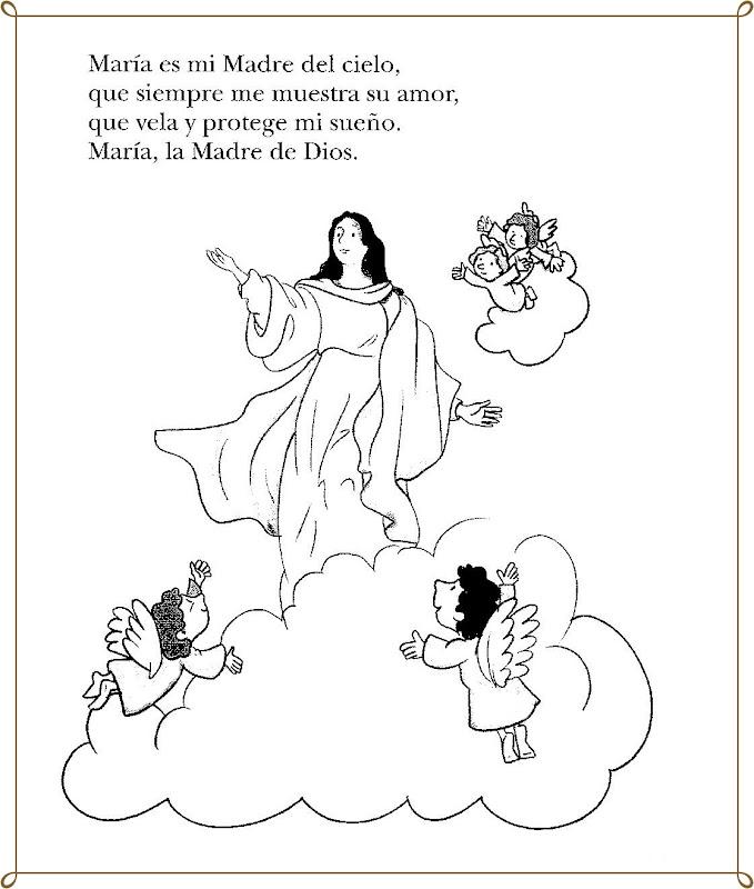 Imágenes de María la madre de Dios para colorear y pintar