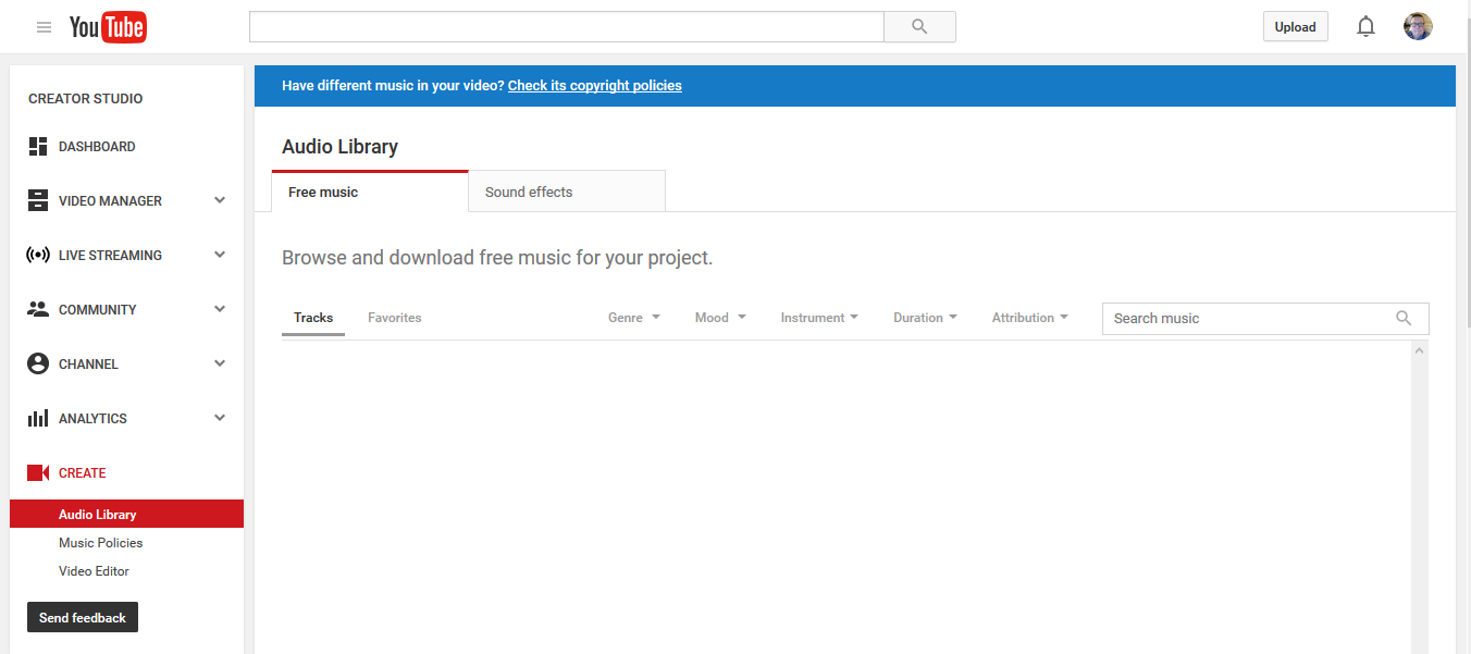 I cannot find any music or sound effects  - YouTube Help