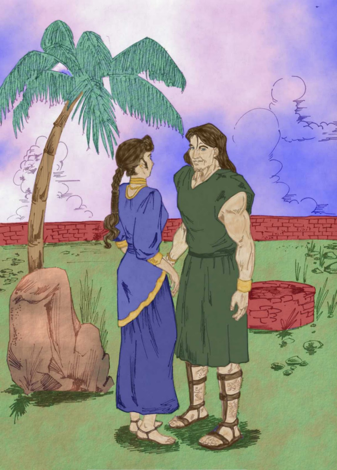 Story Of Samson And Delilah Vector Clip Art