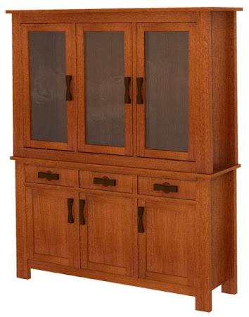 """84"""" high x 68"""" wide x 20"""" deep Zen China Cabinet in   Rustic Quarter Sawn Oak"""