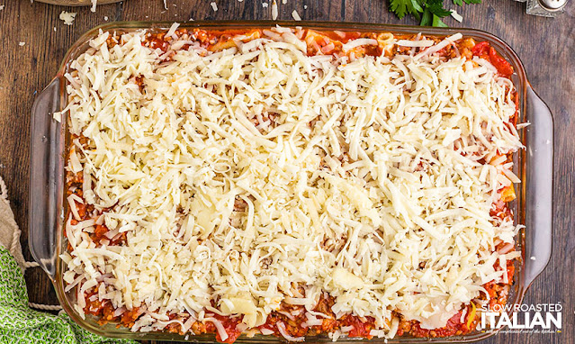 best ever baked ziti prepped and ready to bake