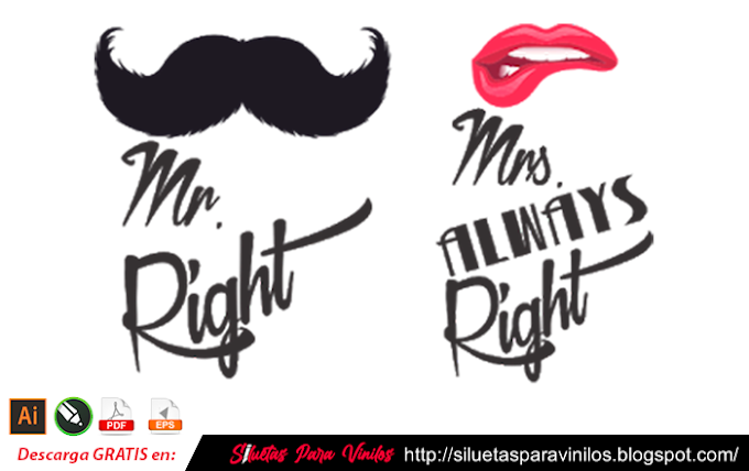 Mr right & Mrs Always Right free vector