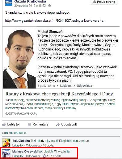 Radny PO z Krakowa chce śmierci Kaczyńskiego