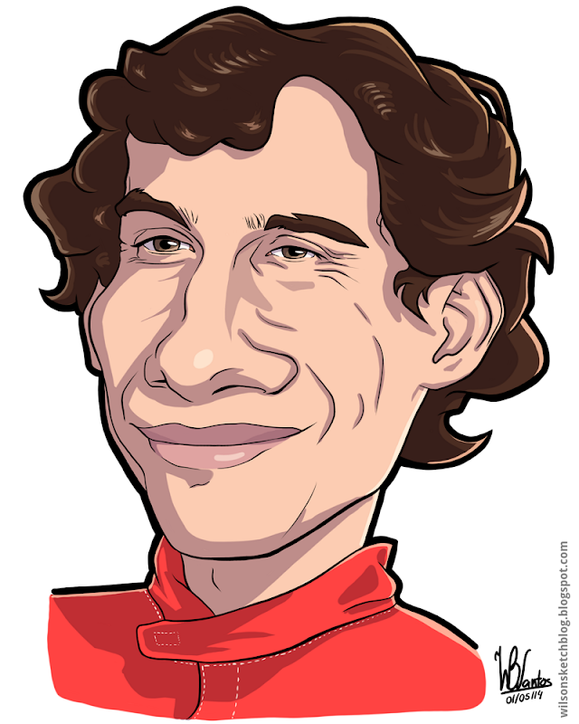 Cartoon caricature of Ayrton Senna.