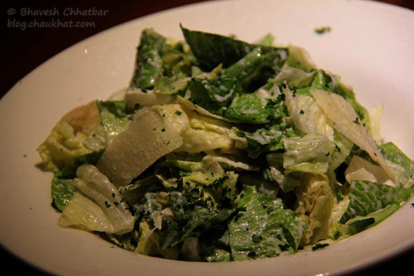 Close-up of Caesar Salad served at Toss Sports Lounge Koregaon Park