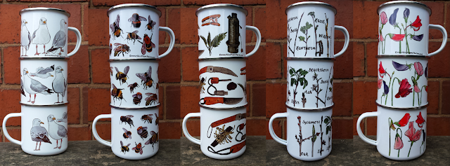 Enamel Mugs by Alice Draws The line featuring Seagulls, Bees, Bushcraft, Twigs and Sweet Peas