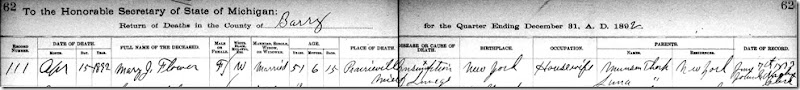 Copy of FLOWER_Mary nee THORP_death regi_16 Apr 1892_PrairievilleBarryMichigan