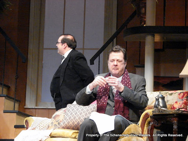 John Quinan and Richard Michael Roe in THE ROYAL FAMILY (R) - December 2011.  Property of The Schenectady Civic Players Theater Archive.