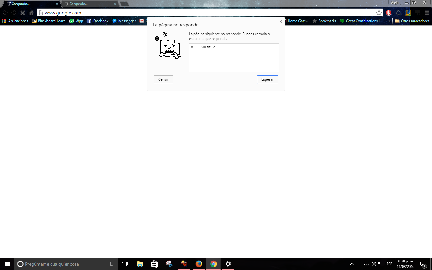 Google Chrome No Carga Ninguna Pagina: Google Chrome No Responde.