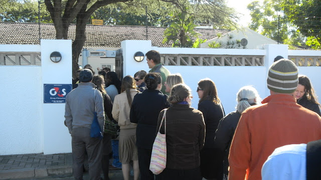 Going thru security at the ambasador's residence