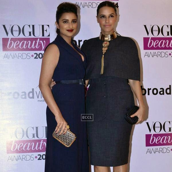 Parineeti Chopra and Neha Dhupia attend Vogue Beauty Awards 2014, held at Hotel Taj Lands End in Mumbai, on July 22, 2014.(Pic: Viral Bhayani)