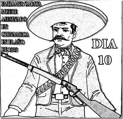 Emiliano Zapata para colorear | Emiliano Zapata muere asesinado el 10 de abril