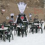 Place Fréhel : terrasse sous la neige