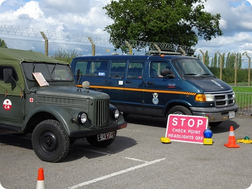 Military vehicles on display outside the bunker