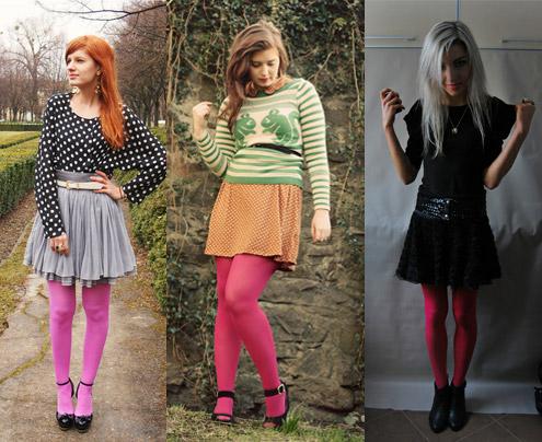 Como usar meia-calça cor de rosa