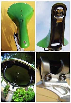 Sillin Brooks verde B17 Standard, adaptador Kore I Beam para sillines doble rail