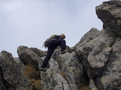 Grimpada fàcil per la cresta abans d'arribar al pic de Comalesbienes