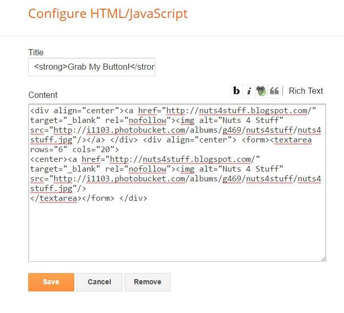 How to add HTML code to the textarea tag in a Blogger widget