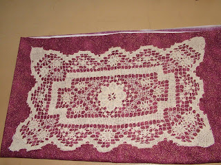 Amanda's 3rd great Grandmother's crochet doily. Nancy advised it's antique filet lace as it has an 'overlay' of stitches.