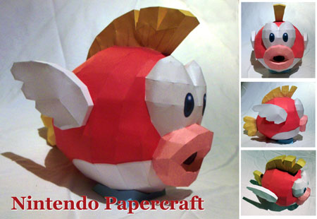 Super Mario Bros Cheep Cheep Papercraft