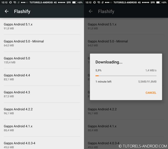 Installer les Gapps avec Flashify