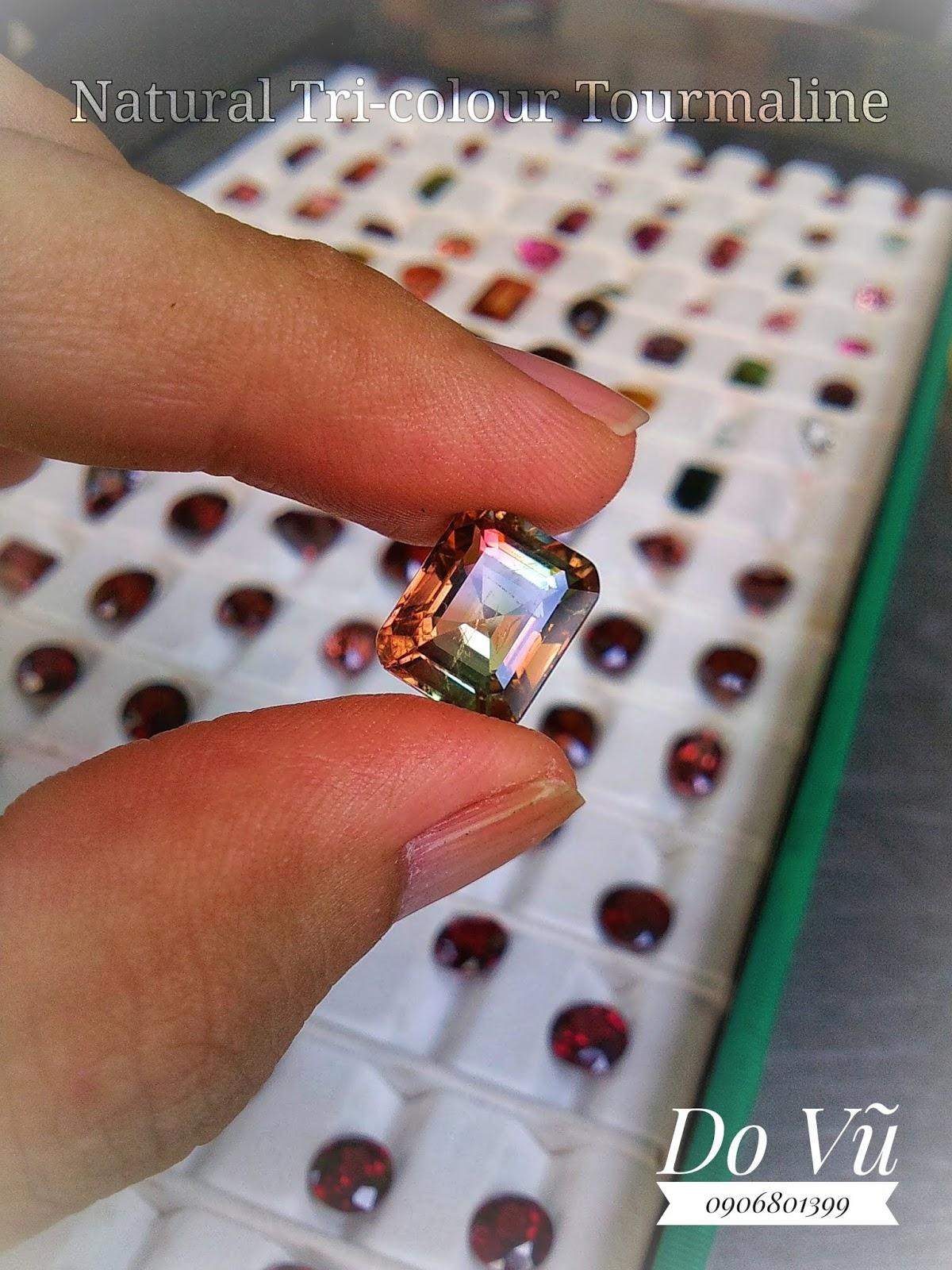 Đá quý Tourmaline thiên nhiên 3 màu Phúc Lộc Thọ, Natural Tri-colour Tourmaline lửa mạnh ( 12/04/20, 03 )