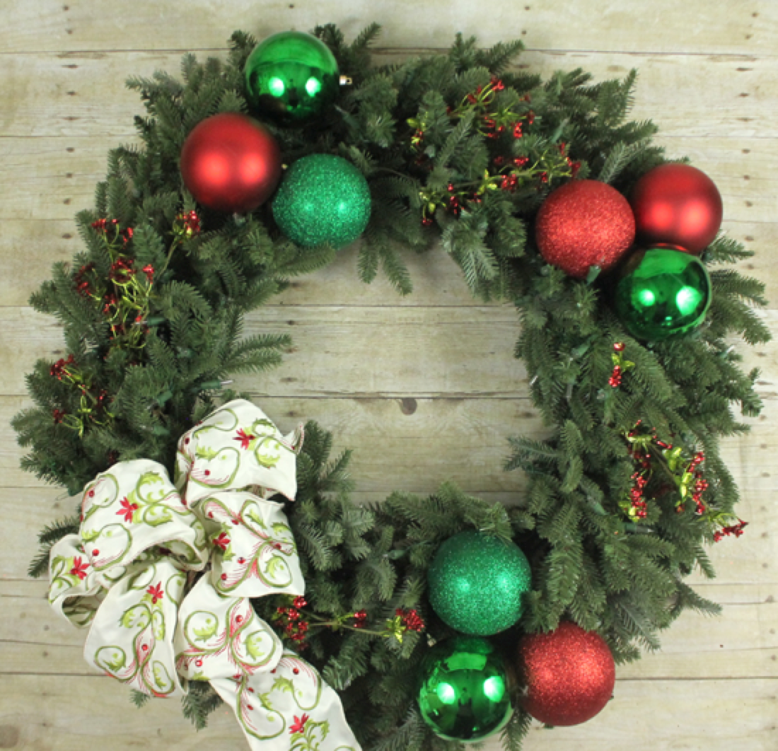 Traditional red and green wreath