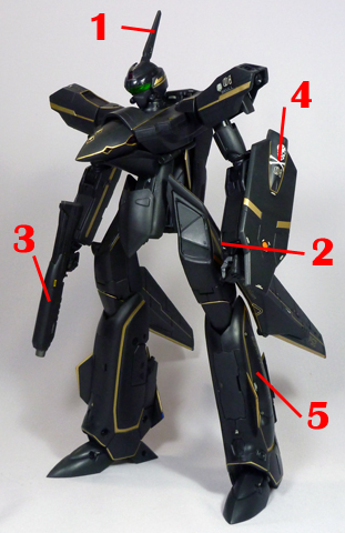 Macross Plus VF-19A Black Excalibur Armament weapon position