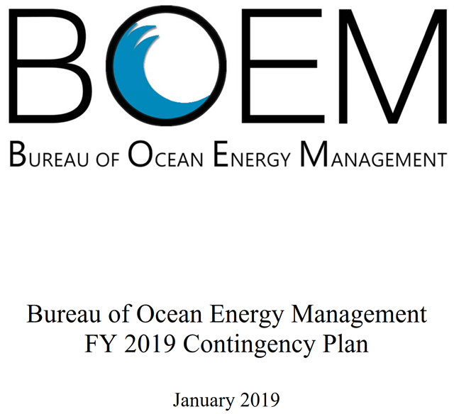 Cover sheet of the Bureau of Ocean Energy Management plan to force employees to work on sales of land for oil and gas drilling purposes in the Gulf of Mexico, during the Trump government shutdown, 8 January 2019. Graphic: Bureau of Ocean Energy Management