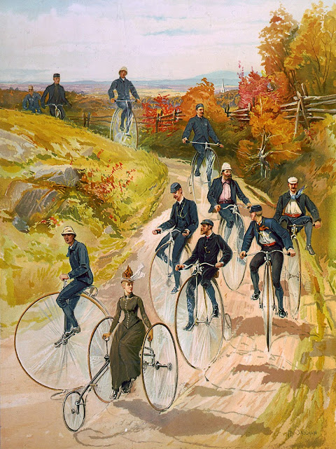 Bicycling / Hy Sandham ; aquarelle print by L. Prang & Co