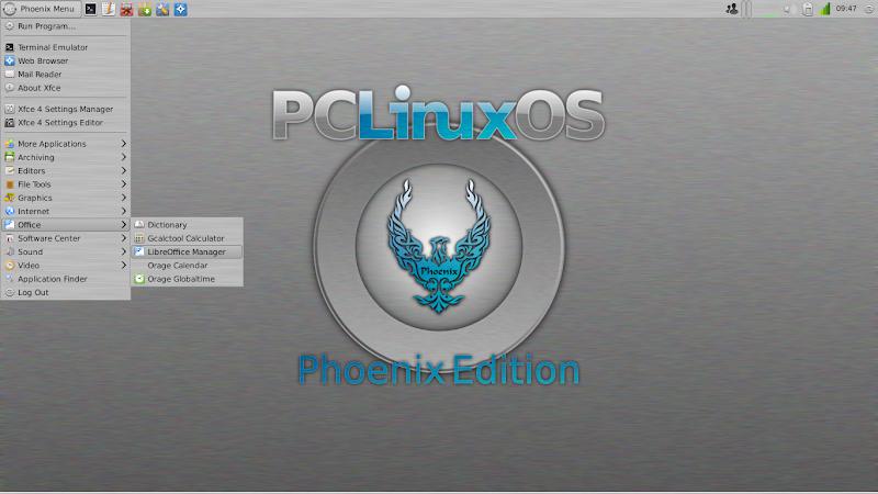 PCLinuxOS Phoenix 2011.7 Menu