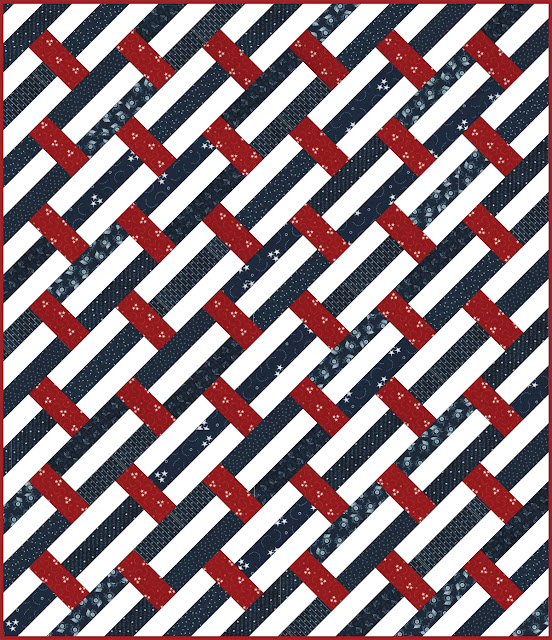 Patriotic version of the Fast Track quilt pattern by Andy Knowlton of A Bright Corner - perfect pattern for using jelly roll strips
