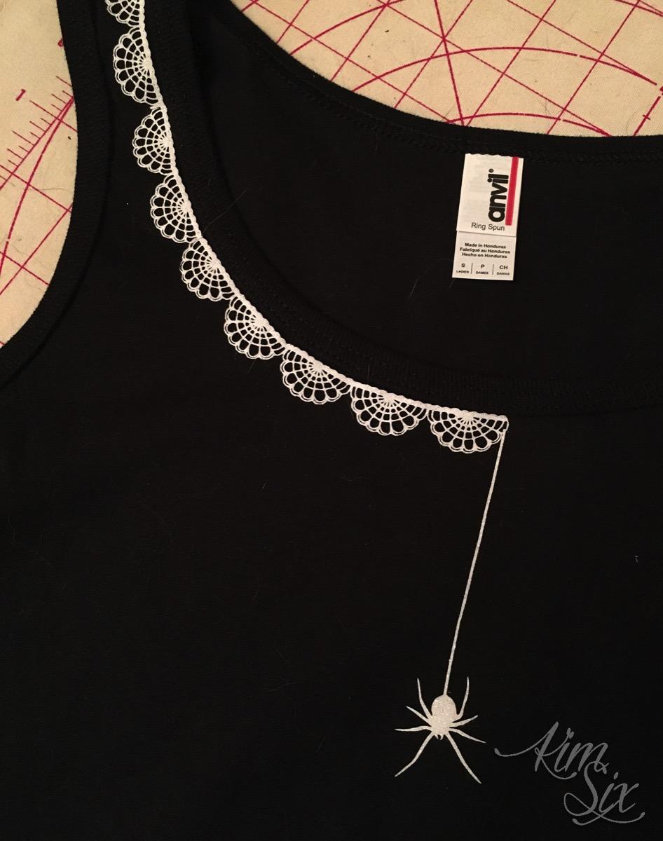 Glitter htv spider collar on tank