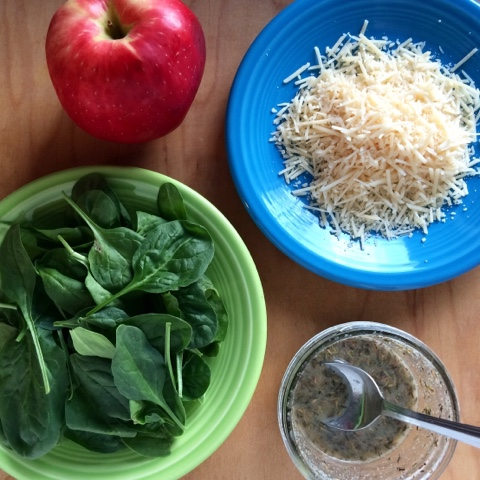 parmesan cheese, apple, spinach, vinaigrette