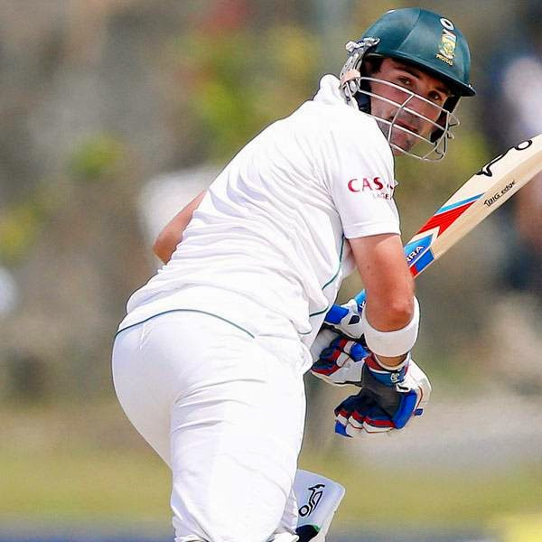 South Africa's Dean Elgar hits a four during the first day of first test cricket match against Sri Lanka in Galle July 16 2014.