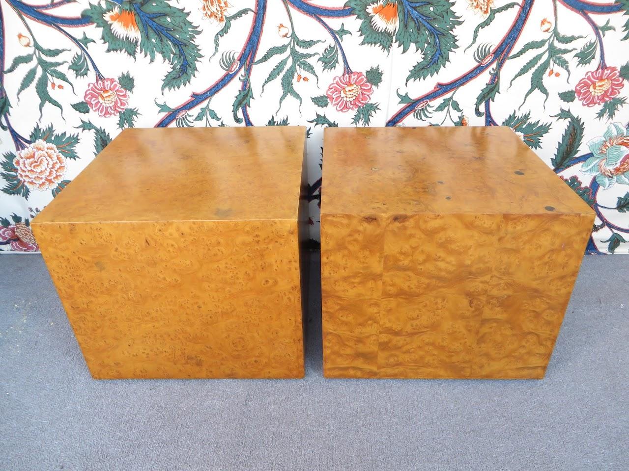 Burlwood Cube Table Pair 2