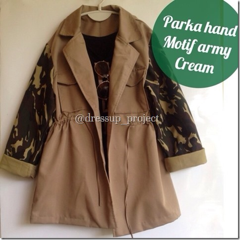 Parka Cewek Murah Hand Motif Army Cream ~ Jaket Parka Murah b1ae9913ee