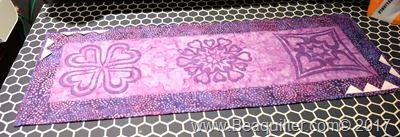 Purple batik table topper with prairie points8