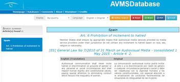 Base de dades legislacio audiovisual europea