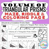 Volume of Triangular Prisms Maze, Riddle, Coloring Page