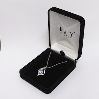 Sterling Silver and Clear and Blue Stone Pendant Necklace