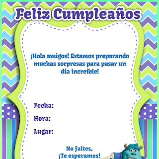 Imprimible: Tarjeta Monsters Inc. University