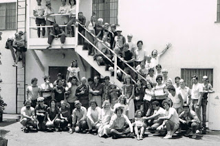 Cast and crew outside the sound stage and offices on the old Desilu backlot on Cahuenga Boulevard. Home of I LOVE LUCY.