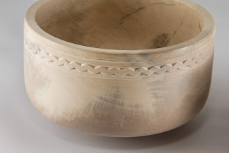 "Photo: Margaret Follas 6"" x 3"" bowl [holly] - detail of chip carving"